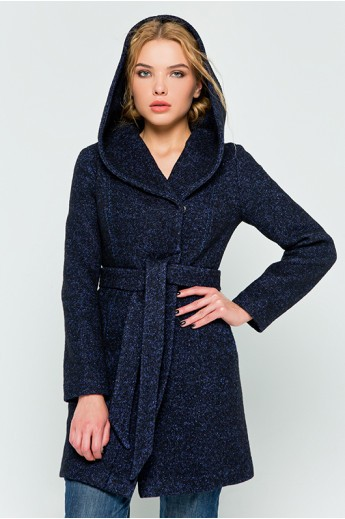 """Осеннее пальто с капюшоном """"Карен"""" синее"""