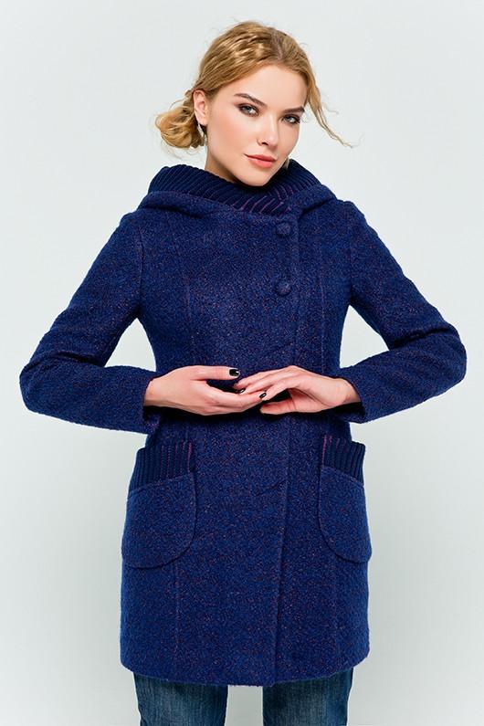 """Пальто с капюшоном """"Синди"""" синее"""