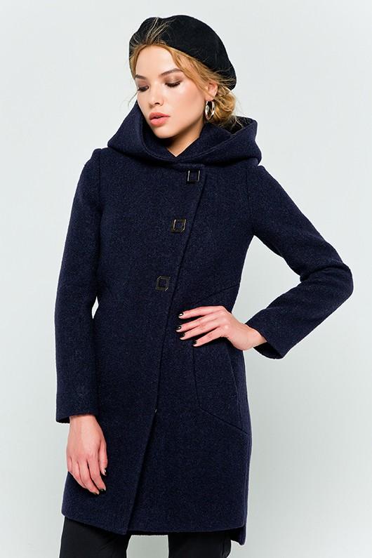 """Пальто с капюшоном  """"Стефани"""" темно-синее"""
