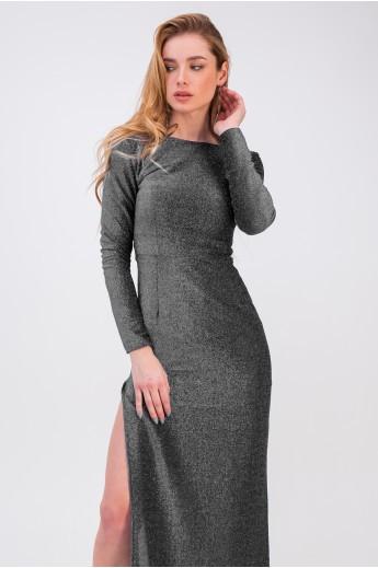 Обтягивающее платье с разрезом «Пенелопа» серебрянное