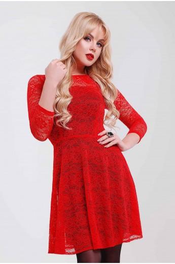 Гипюровое платье «Фиона» красное
