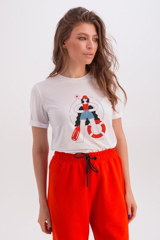 Классическая белая футболка «Эрин» спасательница