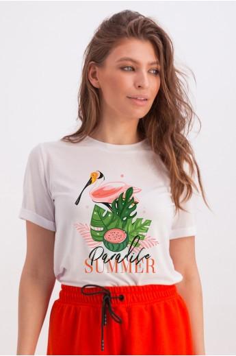 Футболка с животным принтом «Эрин» фламинго summer