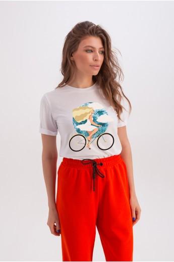 Классическая белая футболка «Эрин» велосипед