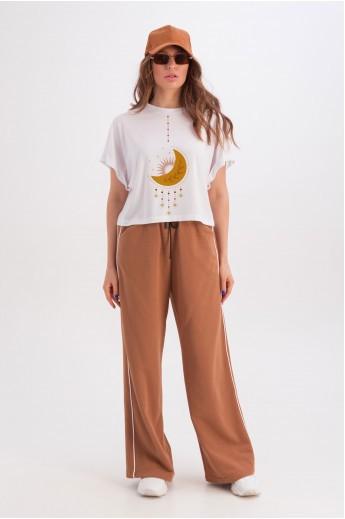 Широкая белая футболка «Анни» луна