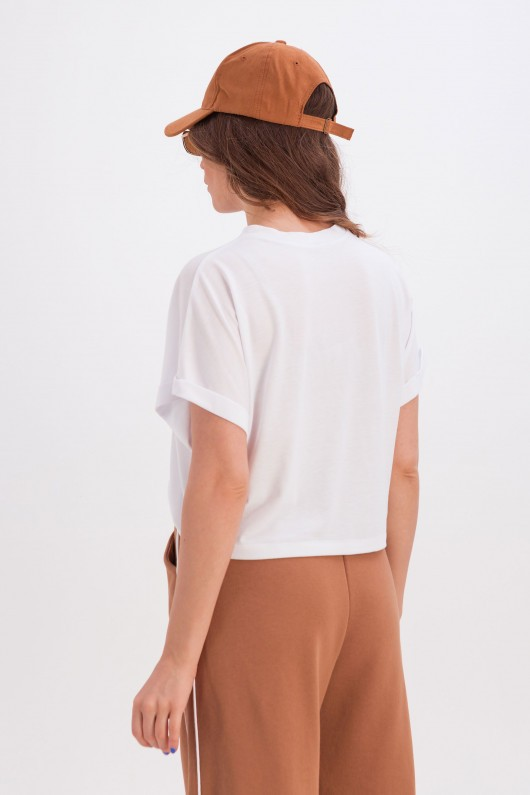 Широкая белая футболка «Анни» алфавит