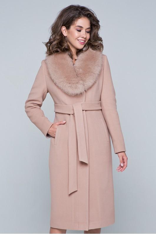 """Длинное пальто с мехом """"Айрис"""" бежевое"""