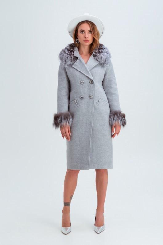 Пальто с мехом на рукавах «Уитни» светло-серое