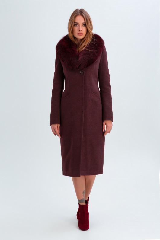 Классическое пальто «Изабель» бордовое