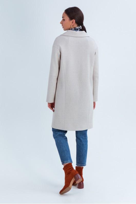 """Свободное пальто """"Джил"""" светло-бежевое"""