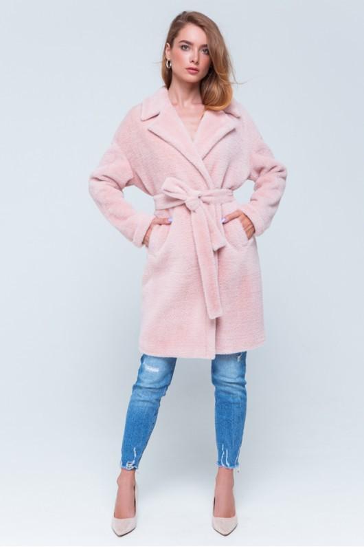 "Утепленная шуба из эко альпаки ""Монро"" розовая"