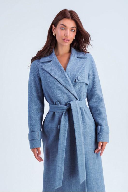 """Длинное пальто """"Ивона"""" голубое"""