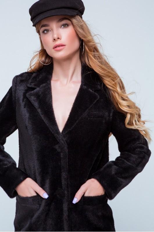 """Короткая шуба-пиджак """"Соня"""" черная"""