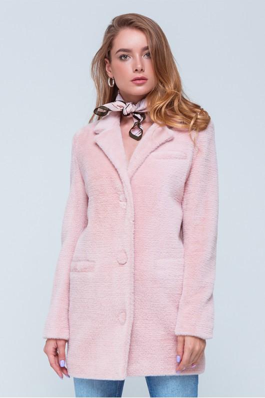 """Короткая шуба-пиджак """"Соня"""" розовая"""