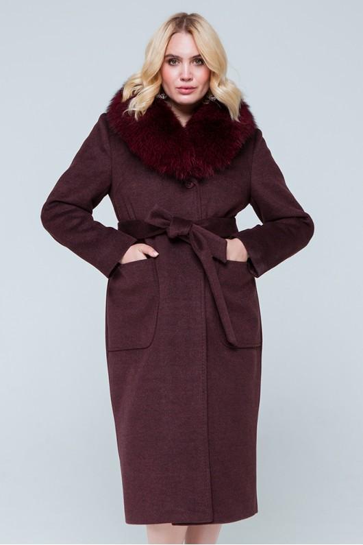 """Зимнее пальто с мехом """"Нана"""" бордовое"""