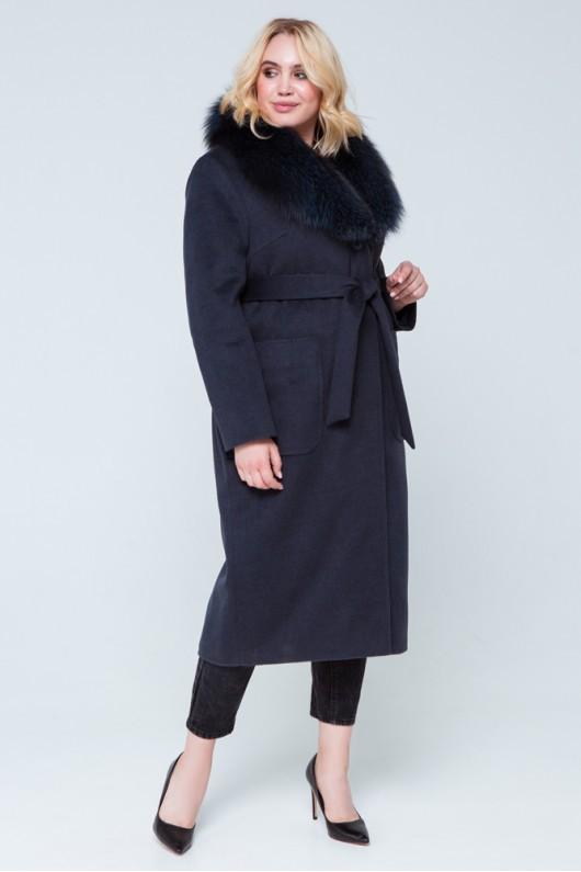 """Зимнее пальто с мехом """"Нана"""" морская волна"""