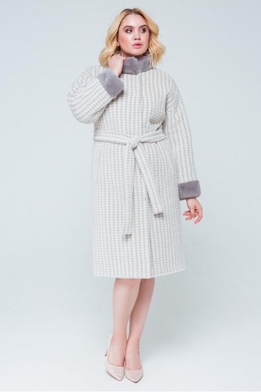 """Пальто с норкой """"Донна"""" серо-белое"""