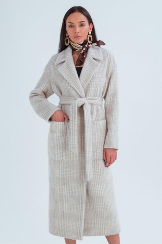 """Демисезонное пальто с принтом """"Элизабет"""" бежевое лапка"""