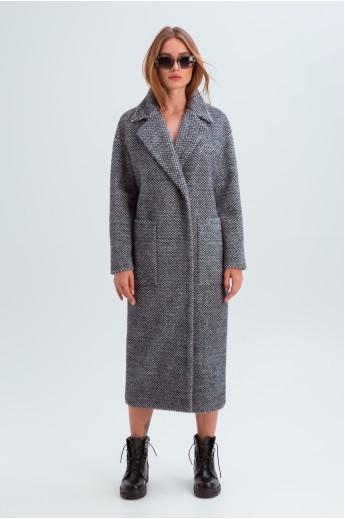 """Демисезонное пальто с принтом """"Элизабет"""" черно-белое"""