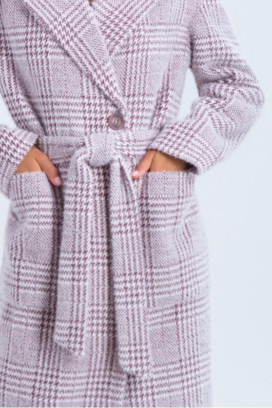 """Демисезонное пальто с принтом """"Элизабет"""" марсала лапка"""