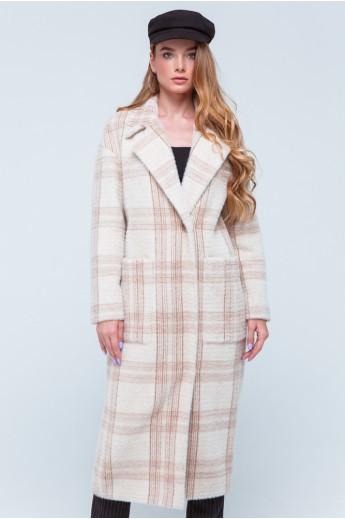 """Демисезонное пальто с принтом """"Элизабет"""" бежевое"""