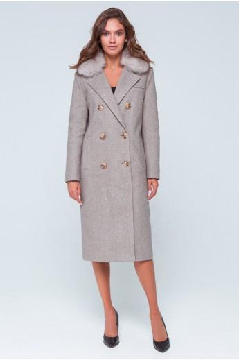 """Утепленное пальто с мехом """"Зара"""" коричневое"""