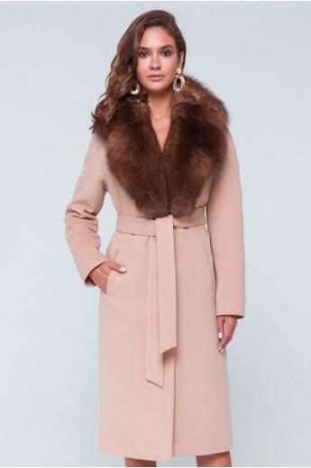 """Зимнее пальто с меховым воротником """"Барбара"""" бежевое"""
