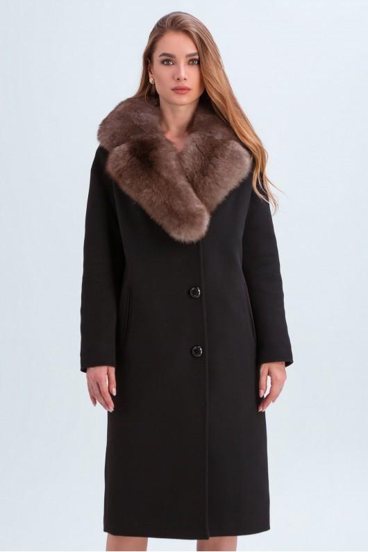"""Зимнее пальто с меховым воротником """"Барбара"""" черное"""