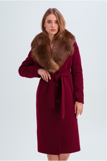 """Зимнее пальто с меховым воротником """"Барбара"""" бордовое"""