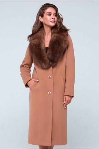 """Зимнее пальто с меховым воротником """"Барбара"""" темно-бежевое"""