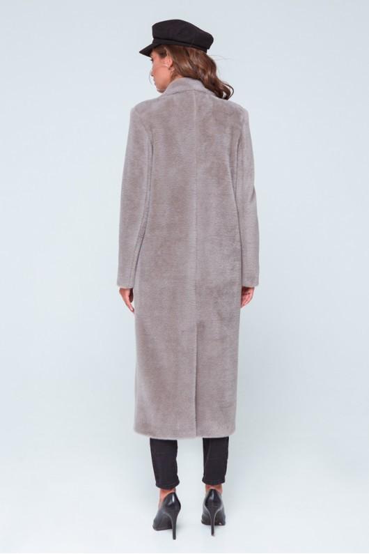 """Длинное пальто из эко меха """"Скарлетт"""" капучино"""