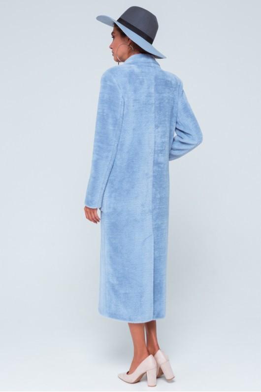 """Длинное пальто из эко меха """"Скарлетт"""" голубое"""