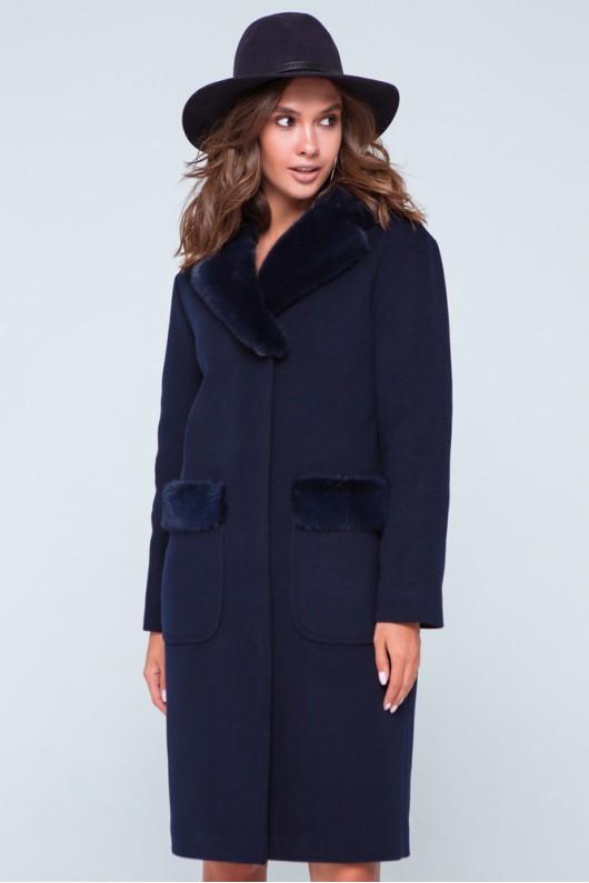 """Пальто с норкой """"Лира"""" синее"""
