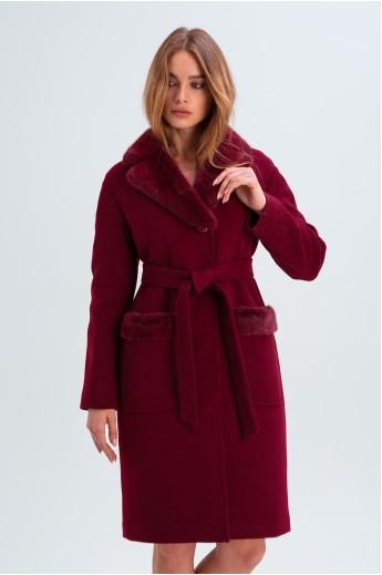 """Пальто с норкой """"Лира"""" бордовое"""