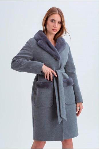 """Пальто с норкой """"Лира"""" серое"""