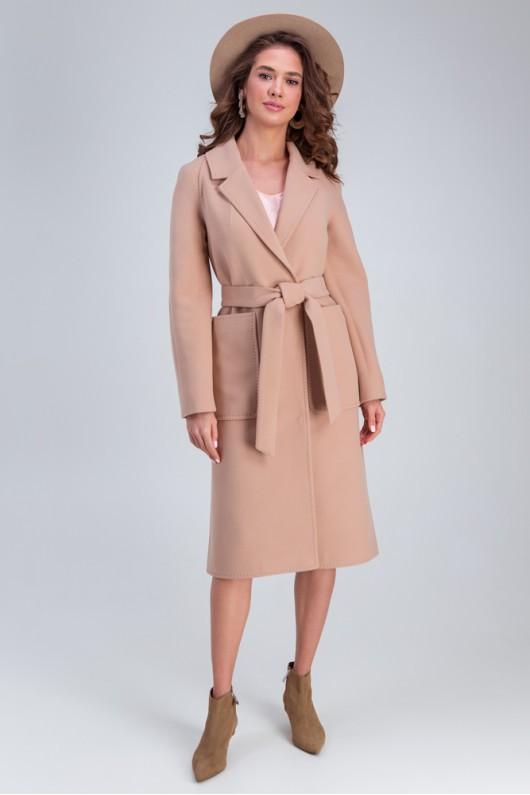 Пальто с накладными карманами «Дельфина» бежевое