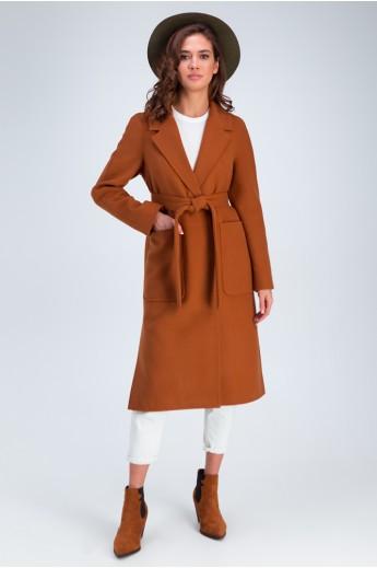 Пальто с накладными карманами «Дельфина» кэмел