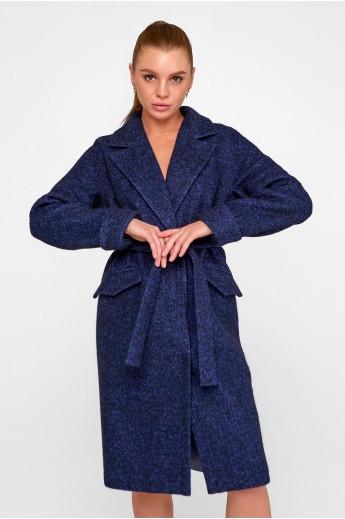 """Пальто букле """"Деми"""" темно-синее"""