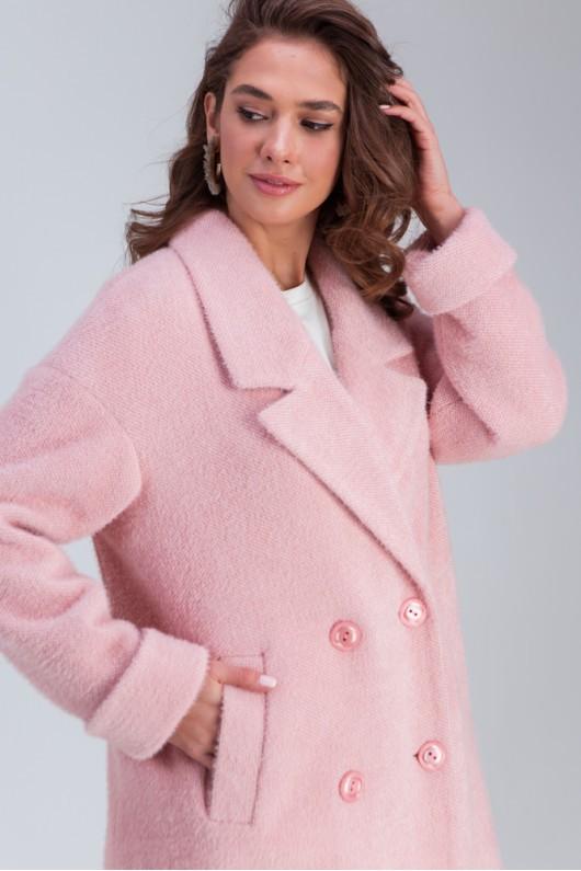 Трикотажное пальто «Мэг» розовое