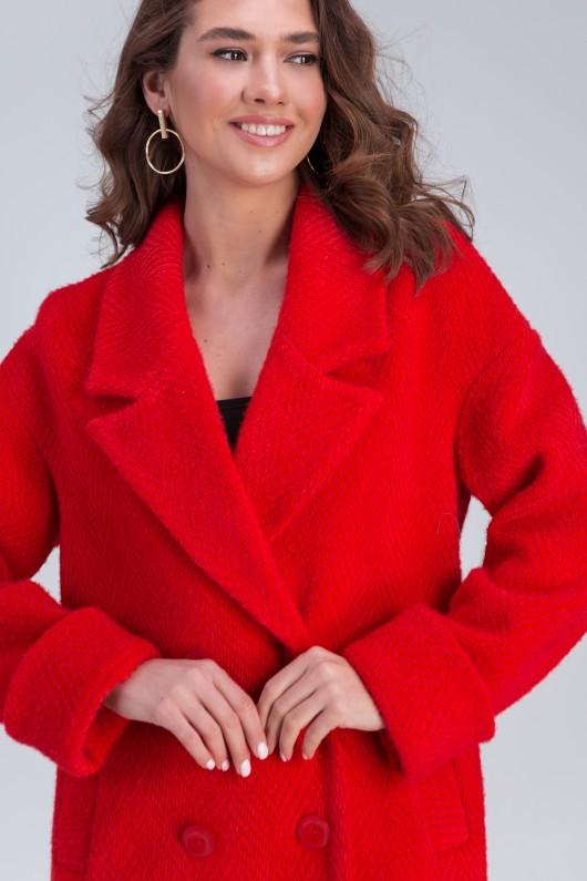 Двубортное пальто «Мэг» красное
