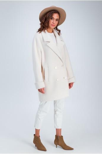 Двубортное пальто «Мэг» молочное