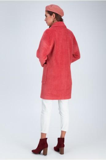 Весеннее пальто «Дева» коралловое