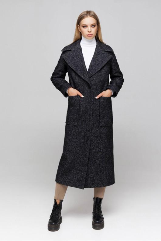 Пальто из твида «Аиша» черное