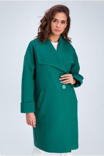 Пальто с воротником апаш «Даниэла» зеленое