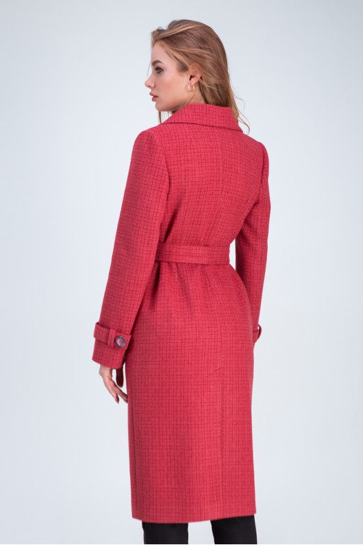 Прямое пальто «Бруна» коралловое