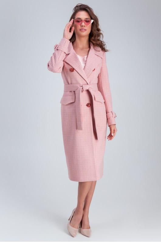 Прямое пальто «Бруна» розовое