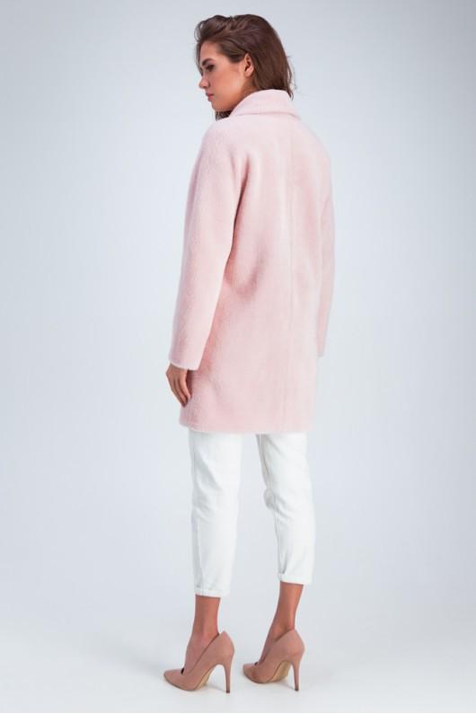 Шуба с рукавом летучая мышь «Аннэт» розовая