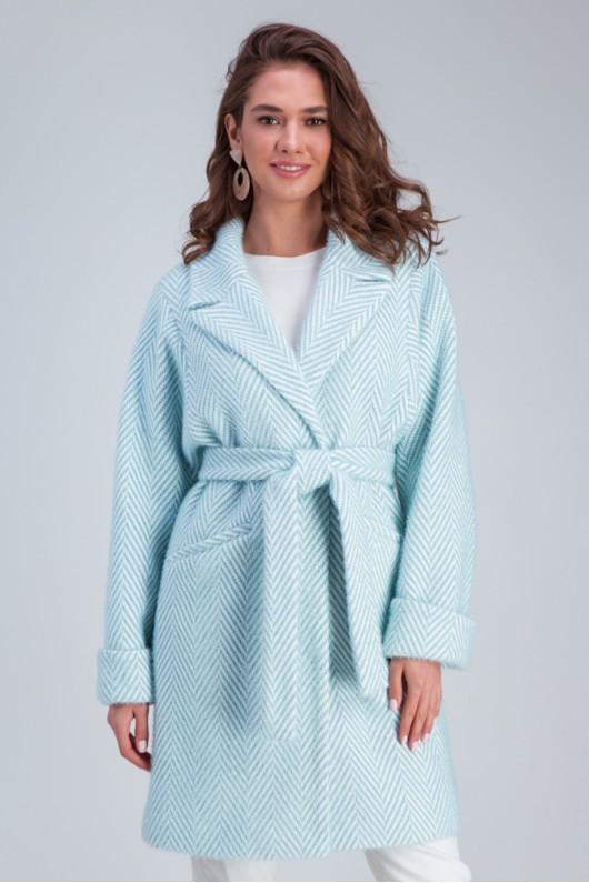 Осеннее пальто «Эмма»  бирюзовое
