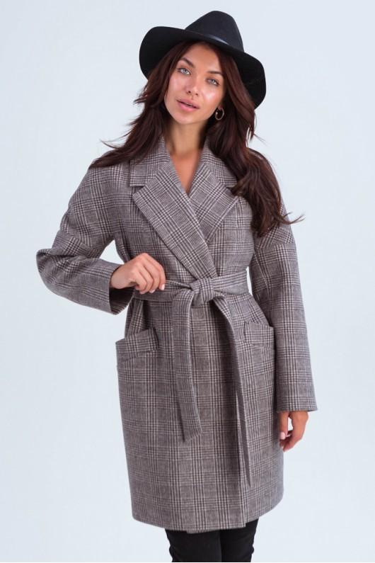 Утепленное пальто оверсайз «Астрид» коричневое
