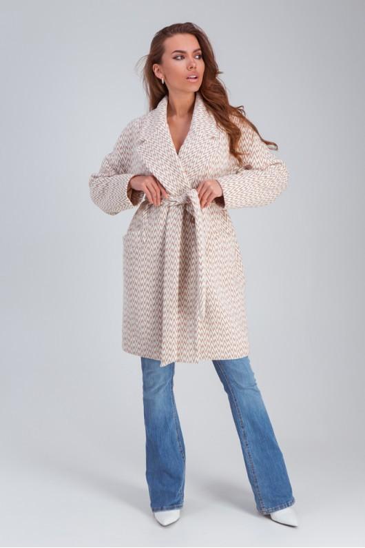 """Весеннее пальто средней длины """"Ясмин"""" капучино"""